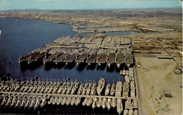 Naval Ships In Moth Balls, U. S. Naval Station San Diego California