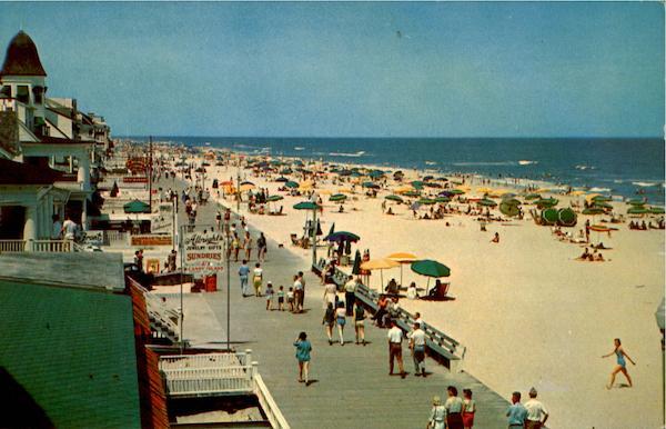 Boardwalk And Beach Scene From Roosevelt Hotel Ocean City, MD