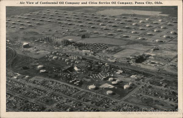 Air View of Continental Oil Company and Cities Service Oil Company Ponca City Oklahoma