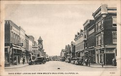Davis Street Looking East From Bruce's Drug Store Postcard