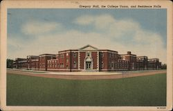 Gregory Hall, the College Union and Residence Halls-State Teachers College Postcard