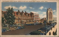 View Showing Quincy Square, Adams Building and Granite Trust Company Postcard