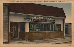 Harry's Soda and Snack Bar on the River Front, Clayton Postcard