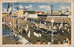 Flag Raising Ceremony at Music hall on the Boardwalk Postcard