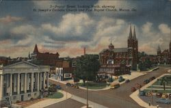 Poplar Street, Looking North, Showing St. Joseph's Catholic Church and First Baptist Church