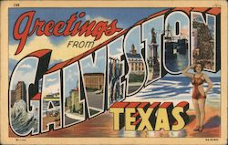 Greetings from Galveston Texas Postcard