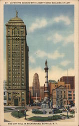 Lafayette Square, Liberty Bank Building, City Hall Postcard