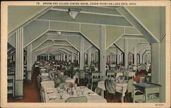 Green and Silver Dining Room, Cedar Point-on-Lake-Erie Postcard