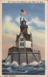 Racine Reef Lighthouse, Three Miles from Shore Postcard