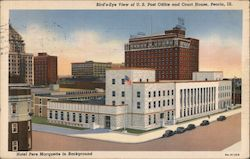 Bird's Eye View of U.S. Post Office and Court House, Hotel Pere Marquette in Background