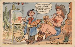Beauties Of The Far West Does It Bother You To Have Somebody Watch While You Paint? Comic By Reg Manning Postcard