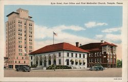 Kyle Hotel Post Office and First Methodist Church Postcard