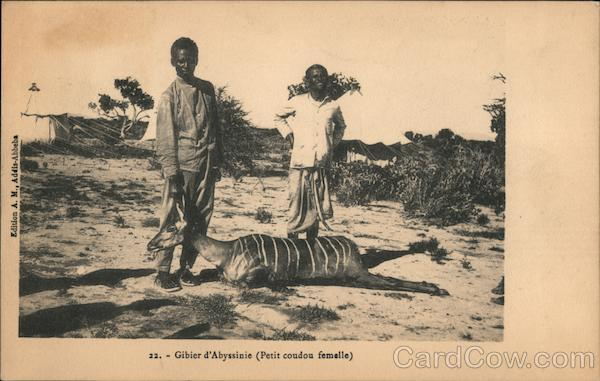Boy Poses with a Female Kudu, Game in Abyssinia Ethiopia