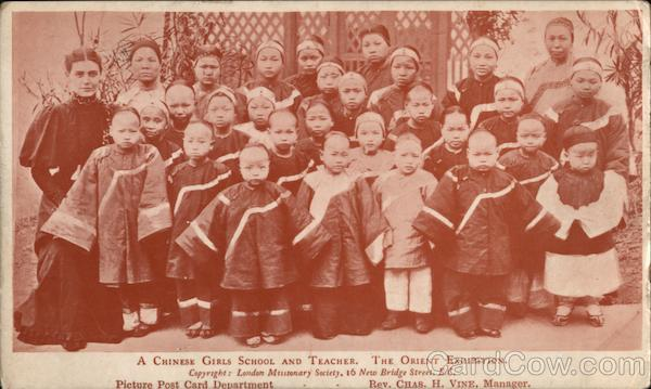 A Chinese Girls School and Teacher. The Orient Exhibition. London Missionary Society China