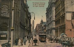 Pitt Street showing A M P buildings on right Sydney Postcard