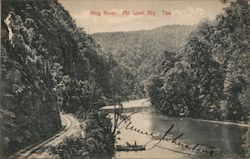 King River View with Mt. Lyell Railway Postcard