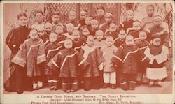 A Chinese Girls School and Teacher. The Orient Exhibition. London Missionary Society Postcard