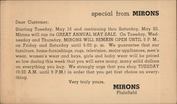 Special From Mirons Postcard