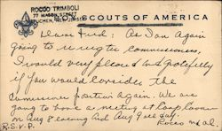 Correspondence Card From Boy Scouts of America