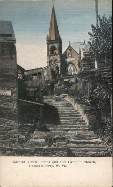Natural Rock Steps and Old Catholic Church Harpers Ferry West Virginia