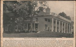 Mount Vernon, Washington's Home Postcard