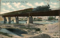 Union Pacific Train on Fort Steele Bridge Postcard
