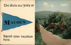 The girls are jolly at Malden Postcard