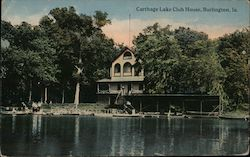 Carthage Lake Club House Postcard