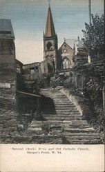 Natural Rock Steps and Old Catholic Church Postcard