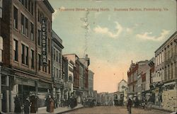 Sycamore Street Looking North, Business Section Postcard