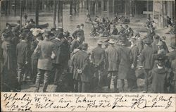 Crowds at End of Steel Bridge, Flood of March, 1907 Postcard