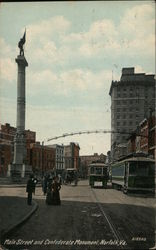Main Street and Confederate Monument Postcard