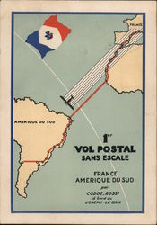 1st Postal Flight Without Stopover Europe to South America