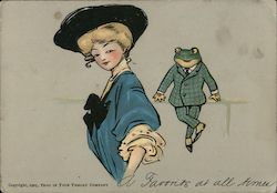 Woman in Fancy Hat, Frog in a Checkered Suit Postcard