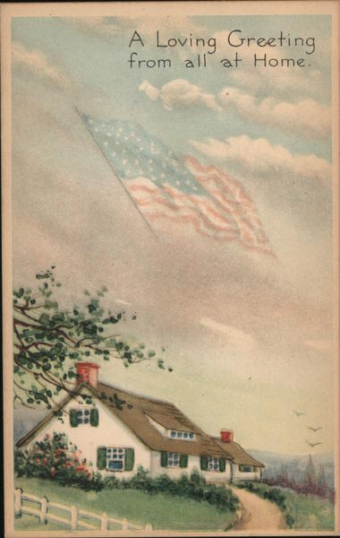 A Cozy Home with American Flag Flying Overhead Patriotic