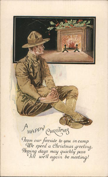 A Happy Christmas - soldier by fireside