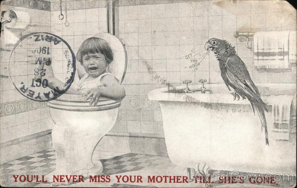 Boy falling in toilet with parrot watching Boys