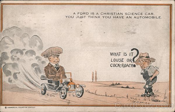 A Ford is a Christian Science Car - cartoon of man confusing small car with bug to stomp