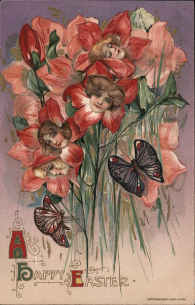 A Happy Easter - bouquet of flowers with women's faces in them, butterflies close by