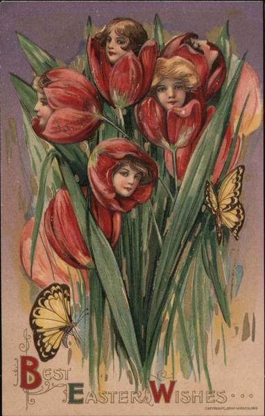 Best Easter Wishes, Young Girls' Faces Grow out of Flowers with Butterflies