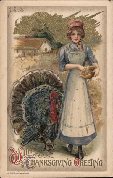 With Thanksgiving Greeting - lady outside standing by a large turkey