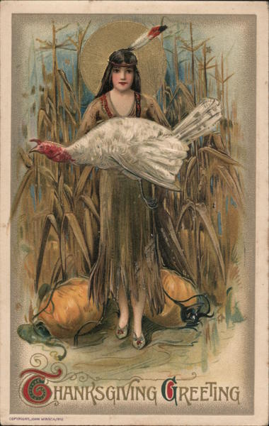 Native American Woman Offers Turkey on Thanksgiving From Pumpkin and Corn Field