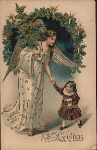 A Merry Christmas - Angel holding hand of small child