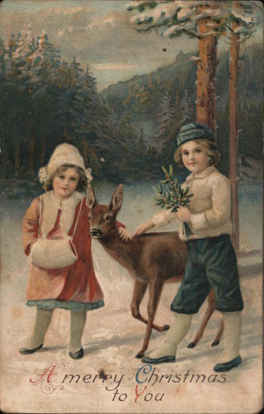 A Merry Christmas to You - Children, Mistletoe and Doe in Winter Forest
