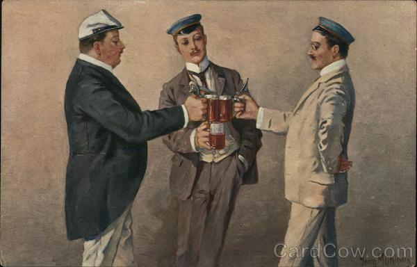 Three dashing men, making a toast with their beer steins