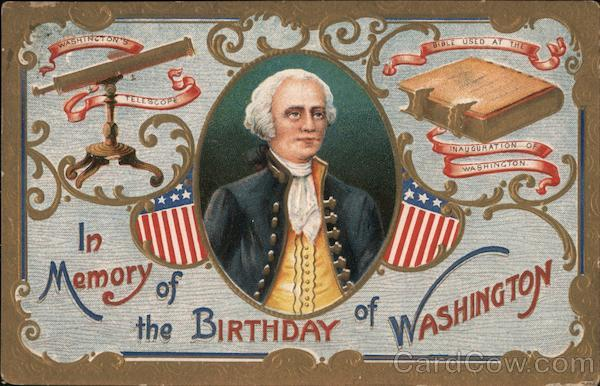 In Memory of the Birthday of Washington - Portrait, Telescope, and Bible