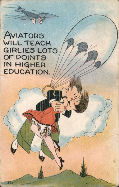 Aviators will teach girlies lots of points in higher education. - cartoon of couple on parachute