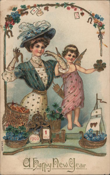 A Happy New Year- Woman with Fairy Women