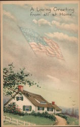 A Cozy Home with American Flag Flying Overhead Postcard
