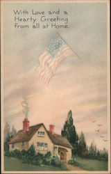 Flag in Clouds Over Residence Postcard